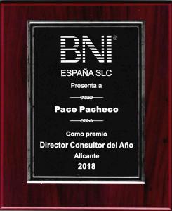 Premio al mejor Director de BNI España del año 2018 (1)